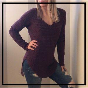HINGE Beautiful Maroon Lace V-Neck Sweater